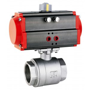 Krogelni ventil iz nerjavečega jekla 3/4 palčni DN20 s pnevmatskim aktuatorjem AT40