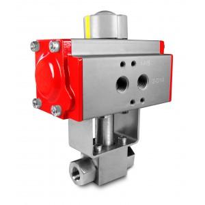 Visokotlačni krogelni ventil 1/4 palčni SS304 HB22 s pnevmatskim aktuatorjem AT40
