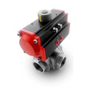 3-smerni krogelni ventil iz nerjavečega jekla 2 palca DN50 s pnevmatskim aktuatorjem AT75