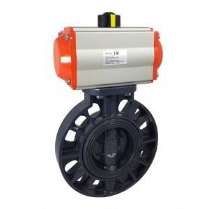Lepilni ventil, dušilec DN65 UPVC s pnevmatskim aktuatorjem AT75