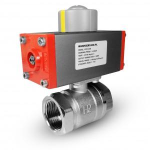 Medeninasti krogelni ventil 1/2 palčni DN15 s pnevmatskim aktuatorjem AT32