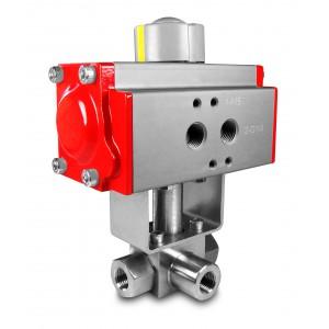 Visokotlačni 3-smerni krogelni ventil 1/4 palčni SS304 HB23 s pnevmatskim aktuatorjem AT52