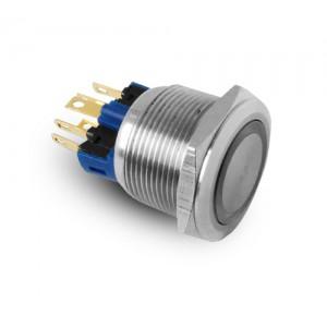 Tipka 22 mm nerjaveče jeklo IP65 LED 230V ali 24V modra trenutna