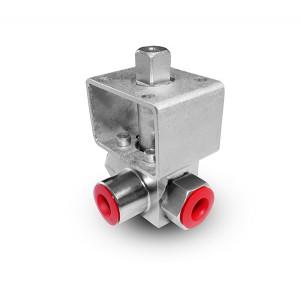 Visokotlačni 3-smerni krogelni ventil 3/8 palčni SS304 HB23 pritrdilna plošča ISO5211