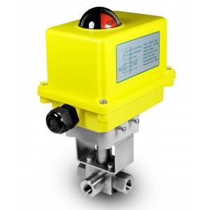 Visokotlačni 3-smerni krogelni ventil 3/8 palčni SS304 HB23 z električnim aktuatorjem A250
