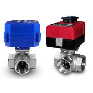 3-smerni krogelni ventil 1 palčni z električnim aktuatorjem A80 ali A82