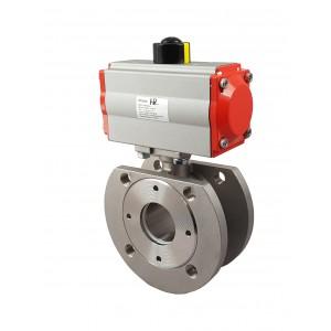 Prirobnični krogelni ventil iz nerjavečega jekla DN65 s pnevmatskim pogonom AT83