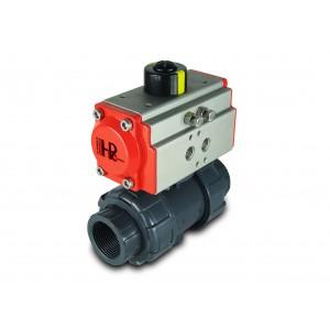 Kroglični ventil UPVC 1 1/4 palčni DN32 s pnevmatskim aktuatorjem AT40