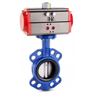 Lepilni ventil, dušilec DN40 s pnevmatskim aktuatorjem AT63