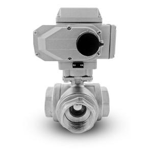 3-potni krogelni ventil iz nerjavečega jekla 1 1/2 palčni DN40 z električnim aktuatorjem A500