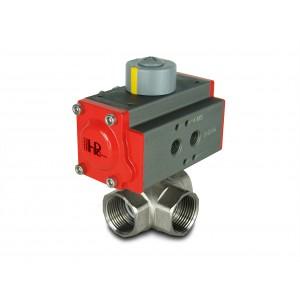 3-smerni medeninasti krogelni ventil 1 palčni DN25 s pnevmatskim aktuatorjem AT40